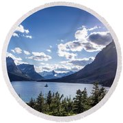 St. Mary Lake Round Beach Towel by Aaron Aldrich