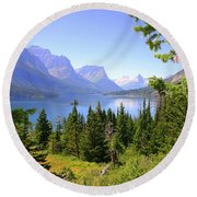 St. Mary Lake Round Beach Towel