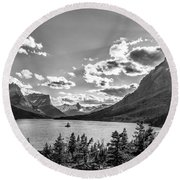St. Mary Lake Bw Round Beach Towel