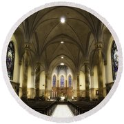 Round Beach Towel featuring the photograph St Mary's Catholic Church by Lynn Geoffroy