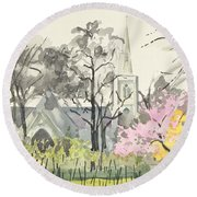 St. Michaels Church, Chester Square, London, 1982 Wc On Paper Round Beach Towel