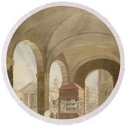 St. Pauls, Covent Garden C.1765-75 Graphite And Wc On Paper Round Beach Towel