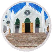 Round Beach Towel featuring the photograph St. Peter's Church  by Verena Matthew