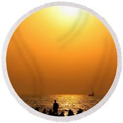 St. Petersburg Sunset Round Beach Towel by Peggy Hughes