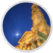 St. Phillip's At Night With Moon And Stars Round Beach Towel