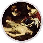 St. Sebastian Tended By St. Irene Oil On Canvas Round Beach Towel
