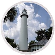 St. Simon's Island Georgia Lighthouse Round Beach Towel by Kathy Clark