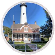 Round Beach Towel featuring the photograph St. Simons Island Light Station by Gordon Elwell