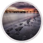 St. Simons Pier At Sunset Round Beach Towel by Fran Gallogly