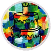Stl250 Birthday Cake Abstract Round Beach Towel