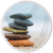 Stack Of Beach Stones On Sand Round Beach Towel