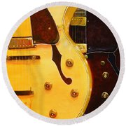 Round Beach Towel featuring the painting Stacked Guitars by Chris Fraser