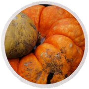 Stacked Pumpkins Round Beach Towel