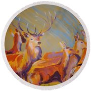 Stag And Deer Painting Round Beach Towel