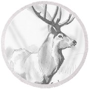 Stag Drawing Round Beach Towel