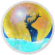 Stag Of Winter Round Beach Towel