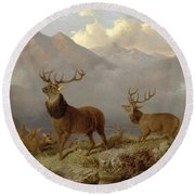 Stags And Hinds In A Highland Landscape Round Beach Towel
