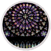 Stained Glass At Notre Dame Round Beach Towel