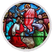 Round Beach Towel featuring the photograph Stained Glass by Ed Weidman