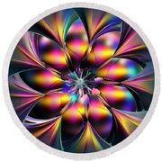 Stained Glass Flower Round Beach Towel