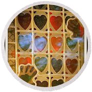 Round Beach Towel featuring the photograph Stained Glass Hands And Hearts by Kathy Barney