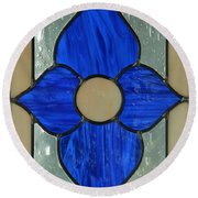 Round Beach Towel featuring the photograph Stained Glass In Blue by E Faithe Lester