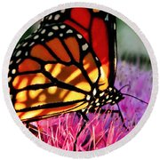 Stained Glass Monarch  Round Beach Towel