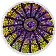 Stained Glass Round Beach Towel by Sue Melvin