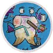Round Beach Towel featuring the painting Stained Tooth by Anthony Falbo