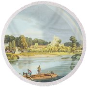 Staines Church With City Stone On Banks Round Beach Towel