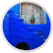 Staircase In Blue Courtyard Round Beach Towel