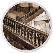 Staircase In Brown Round Beach Towel