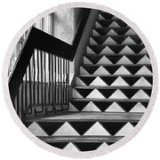 Round Beach Towel featuring the photograph Staircase Santa Fe New Mexico by Ron White