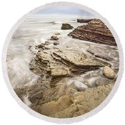 Stairs Of Time - The Jagged Rocks Montana De Oro State Park Round Beach Towel