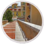 Stairway In Monaco French Riviera Round Beach Towel