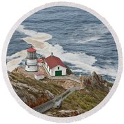 Stairway Leading To Point Reyes Lighthouse Round Beach Towel by Jeff Goulden