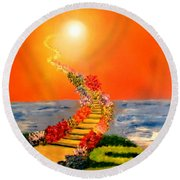 Round Beach Towel featuring the painting Stairway To Heaven by Michael Rucker