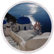 Stairway To The Blue Domed Church Round Beach Towel