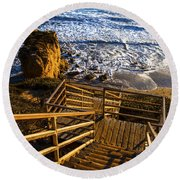 Round Beach Towel featuring the photograph Steps To Blue Ocean And Rocky Beach by Jerry Cowart
