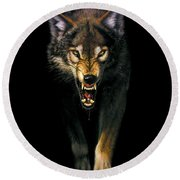 Stalking Wolf Round Beach Towel by MGL Studio - Chris Hiett