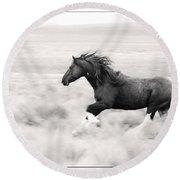 Stallion Blur Round Beach Towel