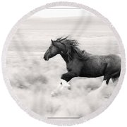 Stallion Blur Round Beach Towel