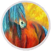 Round Beach Towel featuring the painting Stallions Concerto  by Alison Caltrider