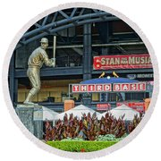 Stan Musial Statue At Busch Stadium St Louis Mo Round Beach Towel