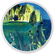 Stand Of Trees In Distance Round Beach Towel