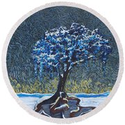 Standing Alone In The Snow Round Beach Towel