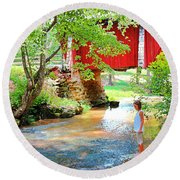 Standing By The River At Campbell's Bridge Round Beach Towel
