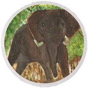 Round Beach Towel featuring the painting Standing My Ground by Tracey Williams