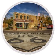 Standing On The Corner In Winslow Arizona Dsc08854 Round Beach Towel