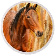 Standing Regally- Bay Horse Paintings Round Beach Towel